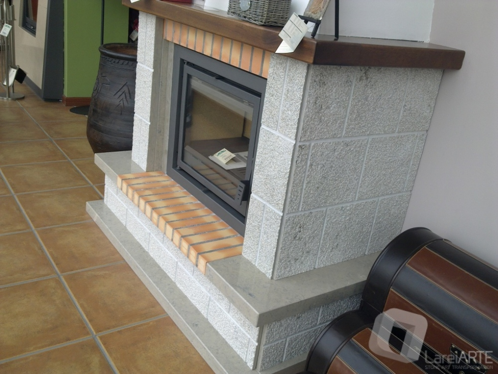 Mod. Niza - Ataíja Blue Limestone, refractory brick and Wood